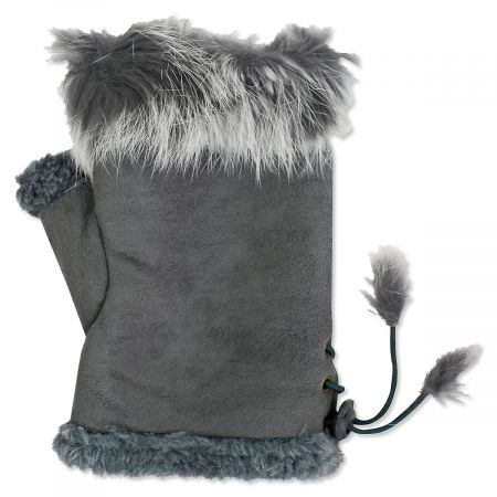 """Fur"" Texting Gloves - Grey"