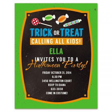 Chalkboard Halloween Party Invitations