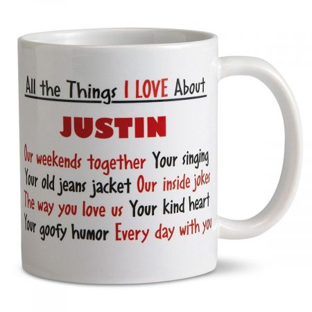 What I Love About You Personalized Mug Let your creativity dictate the words that become the design on your perfect gift mug. We'll print what you specify on the glazed 11-oz. ceramic mug. To keep words bright and new-looking, hand washing is recommended.  All the Things I LOVE About is pre-printed. Microwave safe. Specify 1 line up to 12 characters for name and 8 lines up to 21 characters each for messages.