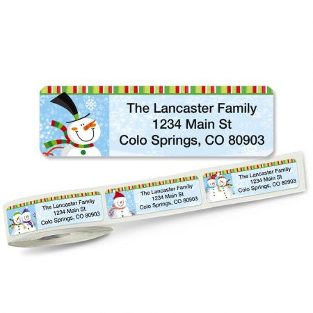 Happy Snowman Rolled Address Labels (5 Designs)