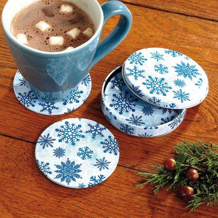 Snowflake Coasters in a Tin