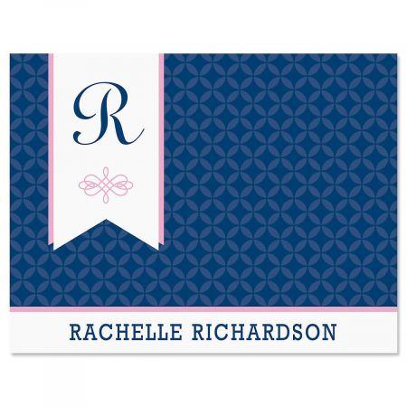 Ribbon Monogram Note Cards