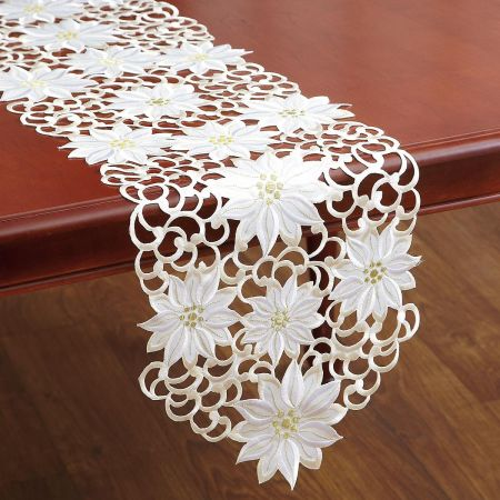 Cutwork Table Runners - Cream Poinsettia