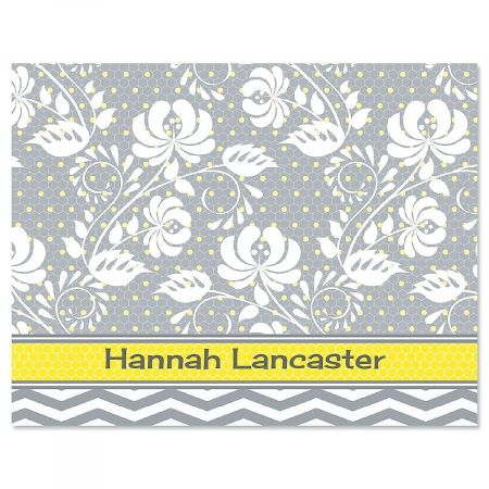 Gray Botanicals Personalized Note Cards