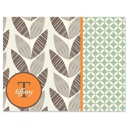 Leaf Patterns Monogram Personalized Note Cards