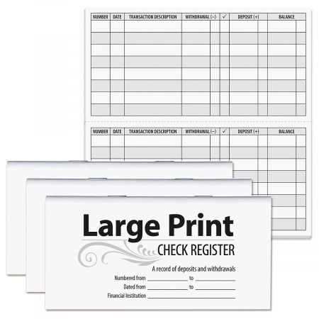 large print check registers current catalog