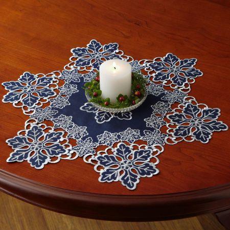 Blue Linen Snowflake Table Runner