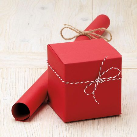 Red Plain Kraft Jumbo Roll Gift Wrap