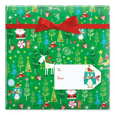 Whimsy Santa & Reindeer Jumbo Rolled Gift Wrap and Labels