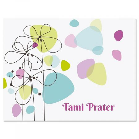 Sketched Flowers Personalized Note Cards