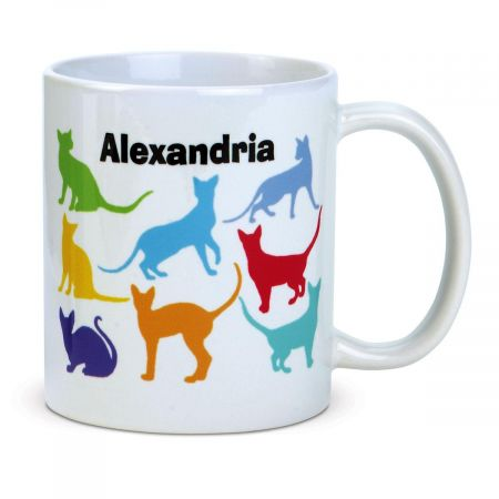 Cat Personalized Mug Clever! The ideal gift, 4-high personalized ceramic cat mug holds 11 oz. microwave and dishwasher safe. Specify name up to 10 characters