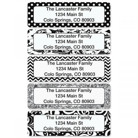 Black and White Rolled Address Labels  (5 Designs)