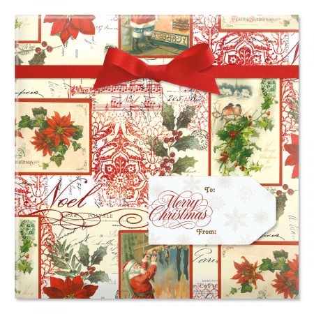 Christmas Elegance Jumbo Rolled Gift Wrap and Labels