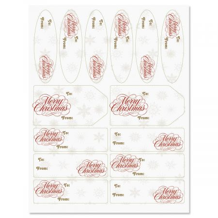 Christmas Elegance Gift Wrap To/From Labels