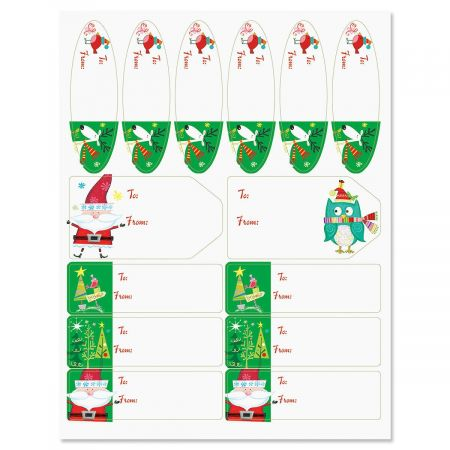 Whimsy Santa & Reindeer Matching Labels