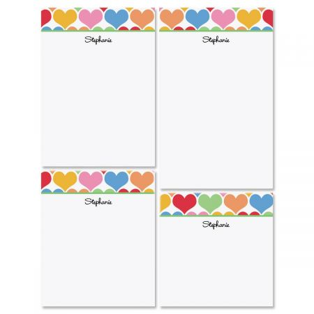 Happy Hearts Personalized Notepad Set