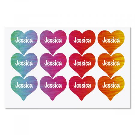 Personalized Rainbow Heart Stickers