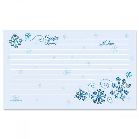 Blue Snow Recipe Cards - 3 x 5