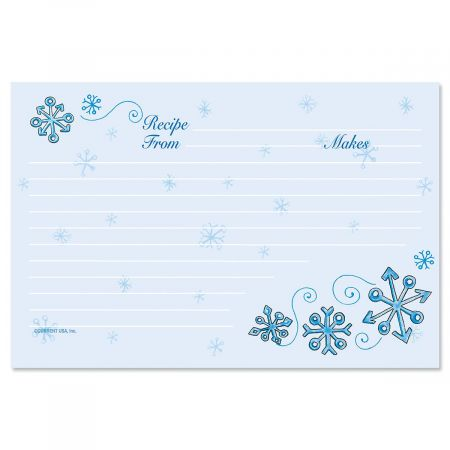 Blue Snow Recipe Cards - 4 x 6