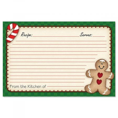 Gingerbread Recipe Cards - 4 x 6