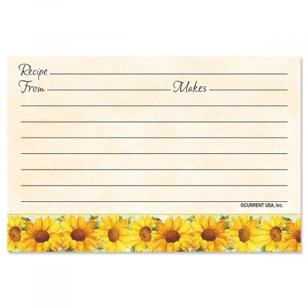 Sunflowers Recipe Cards - 4 x 6