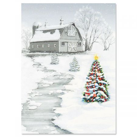 Winter Barn Personalized Christmas Cards - Set of 72