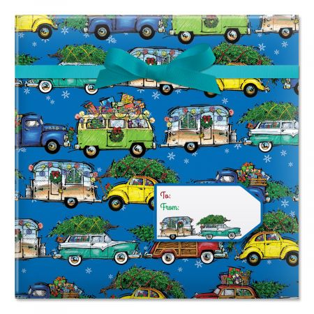 Christmas Vacation on Blue Jumbo Rolled Gift Wrap and Labels