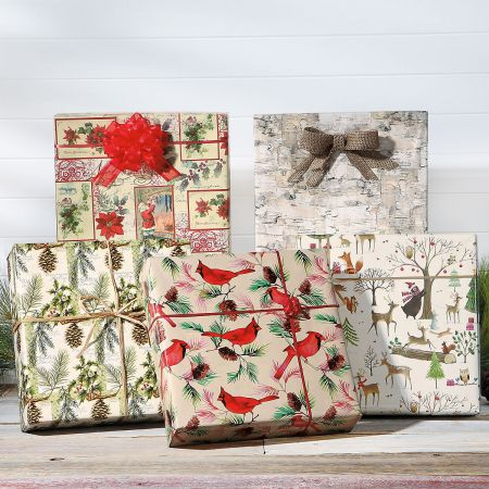 Birch Jumbo Rolled Gift Wrap and Labels