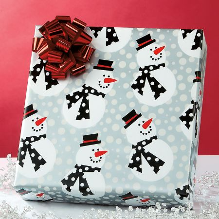 Snazzy Snowman Jumbo Rolled Gift Wrap and Labels
