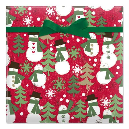 Woodland Snowmen Jumbo Rolled Gift Wrap