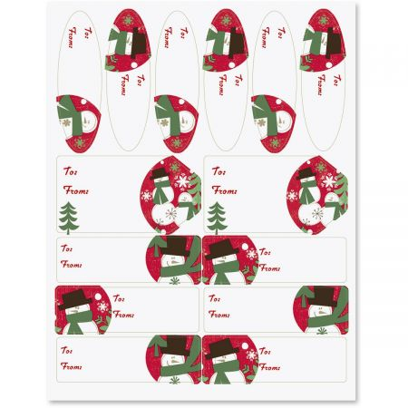 Woodland Snowmen Christmas Labels