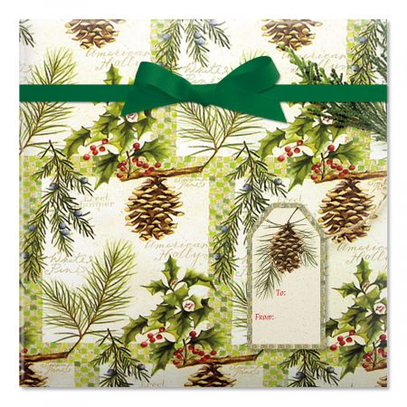 Botanical Windows Jumbo Rolled Gift Wrap and Labels