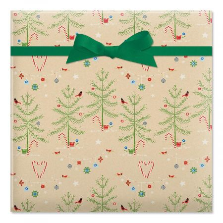Twinkling Trees Jumbo Rolled Gift Wrap