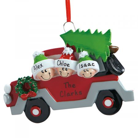 Christmas Tree Caravan Hand-Lettered Resin Ornament-3 Nam...