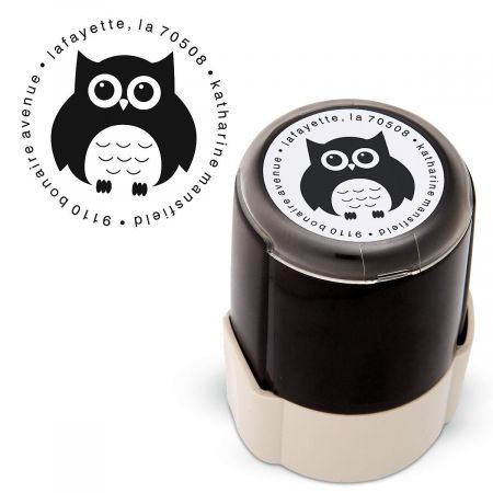 Owl Round Self Inking Address Stamp