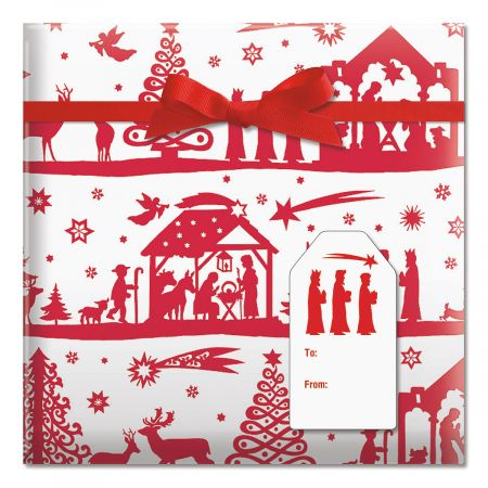 Red and White Nativity Jumbo Rolled Gift Wrap and Labels