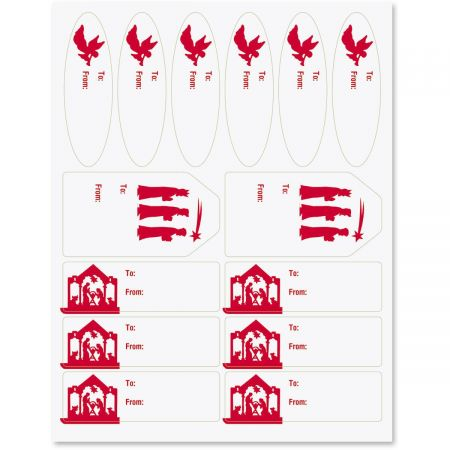 Red and White Nativity Labels