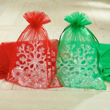 Christmas Gift Bags.Organza Christmas Gift Bag Value Pack