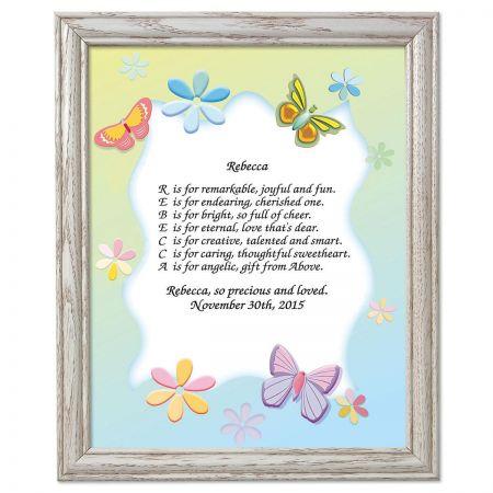 Butterfly Framed Name Poem Print