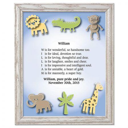Zoo Animals Framed Name Poem Print