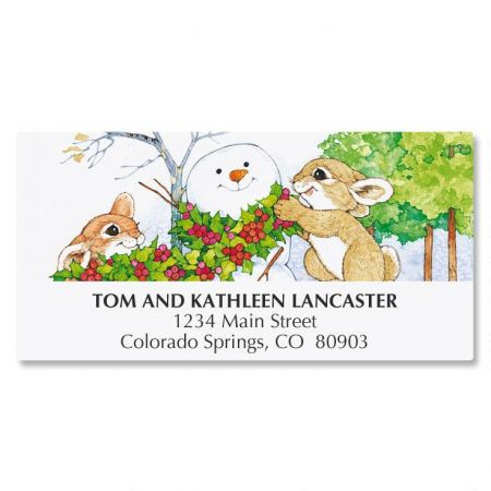 Winter Bunnies Address Labels