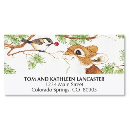 Bunny with Bird in Tree Deluxe Address Labels