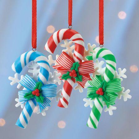 Candy Canes Ornament Trio Set