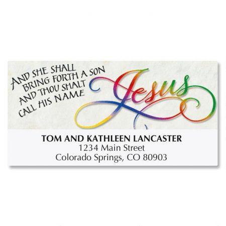 Call His Name Jesus Deluxe Address Labels 48 Matching Christmas self-adhesive address labels, 1-1/8  x 2-1/4 . Specify line 1, up to 26 characters and spacesSpecify lines 2-3, up to 36 characters and spaces each