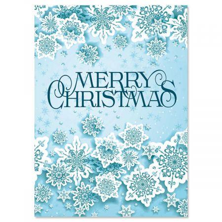 Snowflake Frenzy Nonpersonalized Christmas Cards - Set of 72