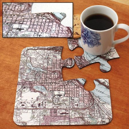 Hometown Map Puzzle Personalized Coasters