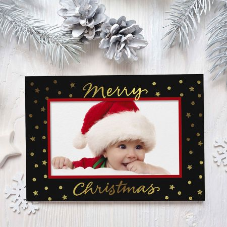 Gold on Black Deluxe Photo Sleeve Christmas Cards