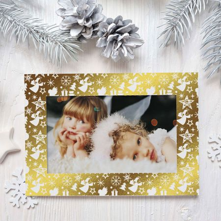 Gold Border Deluxe Photo Sleeve Christmas Cards