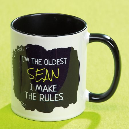 Oldest Child Personalized Mug Rules Vivid 11 ounce ceramic mugs can help explain your siblings and even your friends! Microwave/dishwasher safe; hand washing will keep design brighter. Artwork is identical on both sides. Specify name up to 12 characters