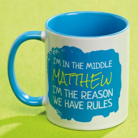 Middle Child Personalized Mug Rules Vivid 11 ounce ceramic mugs can help explain your siblings and even your friends! Microwave/dishwasher safe; hand washing will keep design brighter. Artwork is identical on both sides. Specify name up to 12 characters